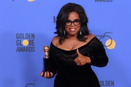 Oprah Winfrey at the 2018 Golden Globes speaking on Time's Up Movement