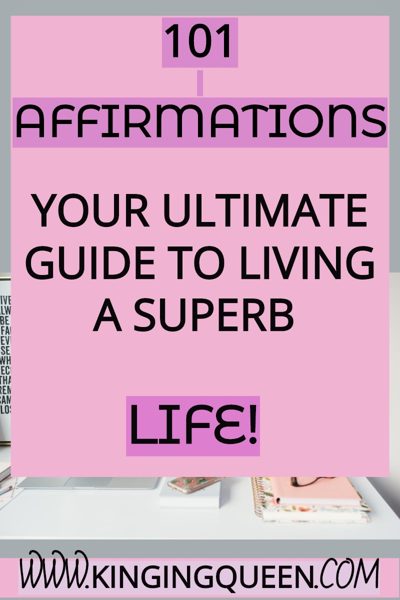 graphic showing 101 affirmations for a better you