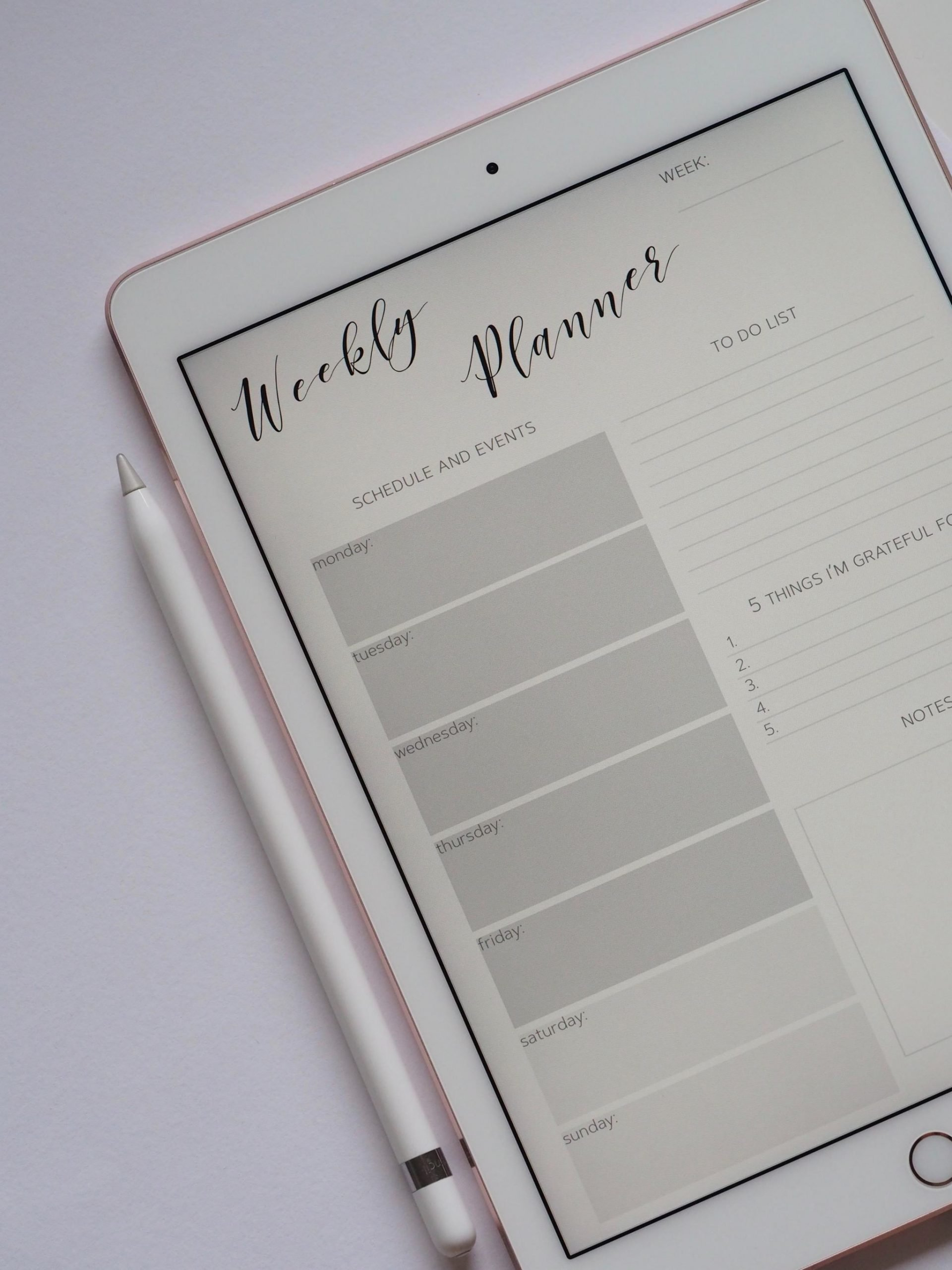 An ipad showing a Weekly Planner As Productive Habits To Adopt On Sundays