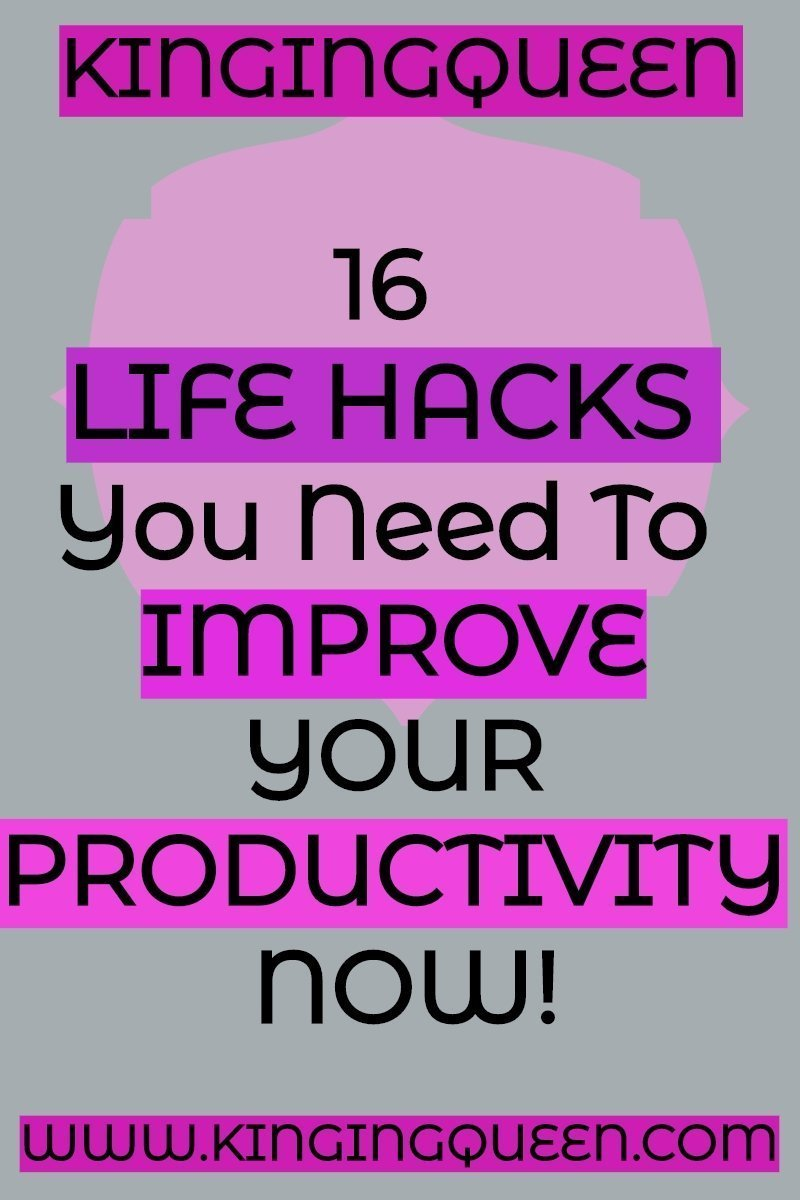 Graphic showing 16 life hacks for improving productivity