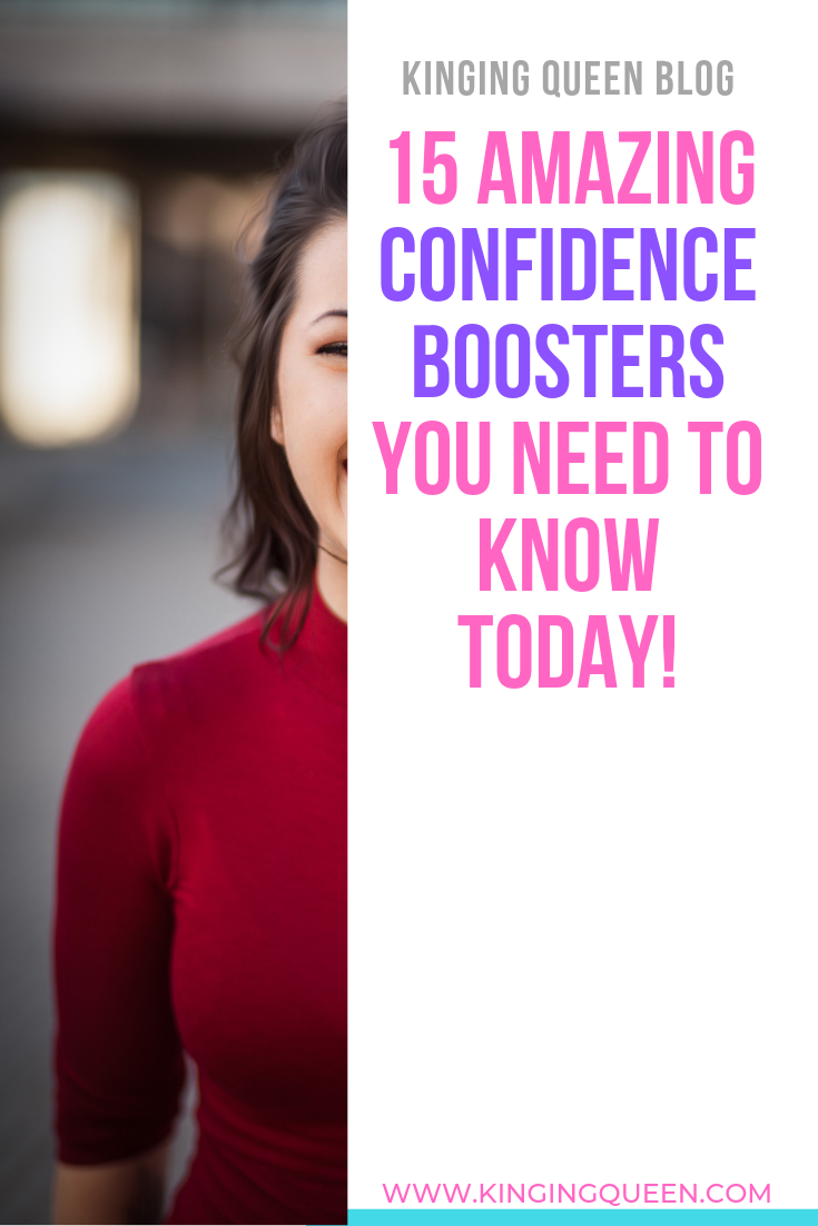 graphic showing 15 amazing self confidence boosters