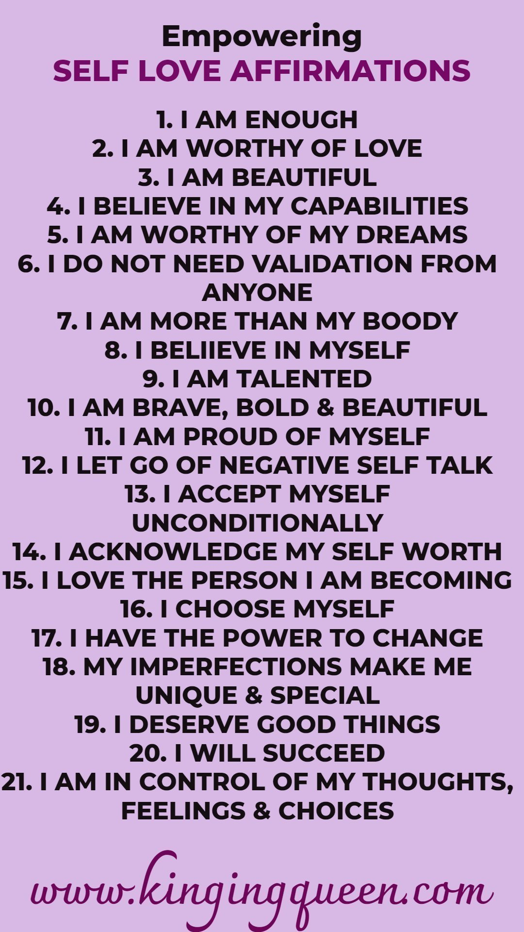 Graphic showing 21 Empowering Affirmations For Self Love