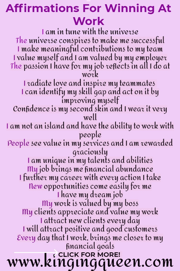 Affirmations To Win at Work