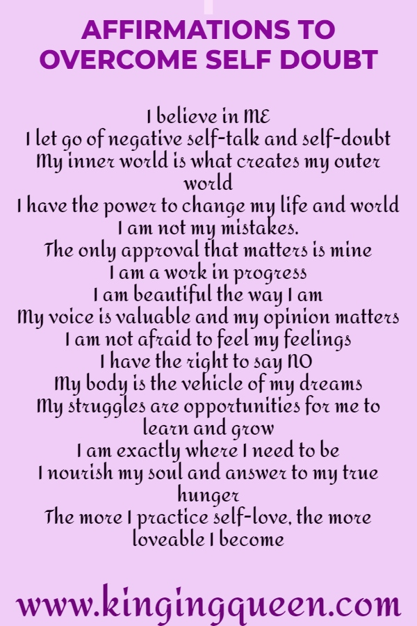 Affirmations to overcome self doubt