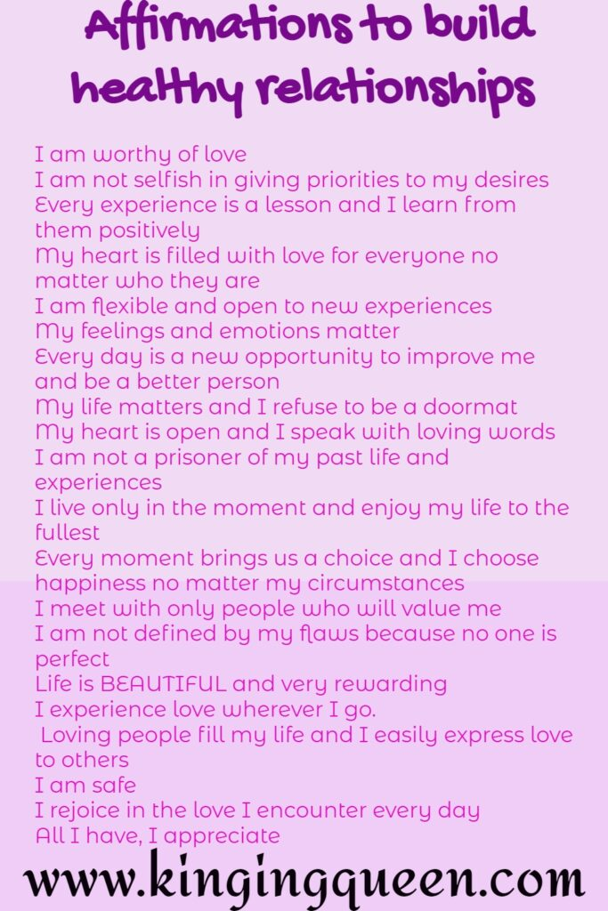 Affirmations to build healthy relationships